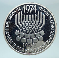 1974 F Germany 25 Years Of German Federal Constitution Law Silver 5 Mark I80827