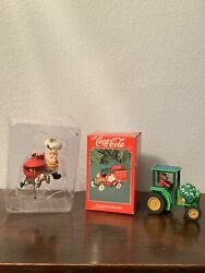 """Coca-cola Brand """"on The Road With Coke"""" Christmas Santa Tractor Ornaments 3 Pack"""