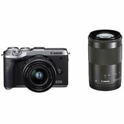 Canon Mirrorless Camera 32.5mp Eos M6 Mark Ii Silver Double Zoom Kit W/ Tracking