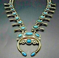 Vintage Navajo Sterling Silver Blue Moon Turquoise Squash Blossom Necklace