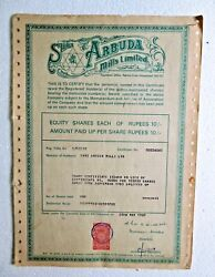 Scripophily Share Certificate Ink Sign Shri Arbuda Mills Limited Ahmedabad India