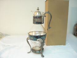 Vintage Mid Century Modern Hostess Glass And Silverplate Coffee Pot W Warmer Stand