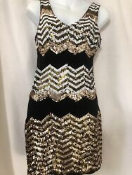Bebe sz S Small Bodycon Black Dress Cocktail Evening Gold Sequins $42.46