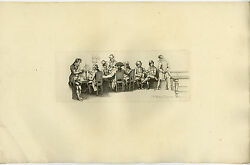 Antique Print-smoking Pipe-gentleman's Club-upper Class-pool Table-marcus-1834