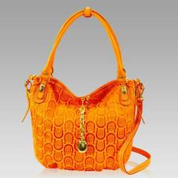 Marino Orlandi Designer Amber Horseshoe Embossed Leather Large Crossbody Bag