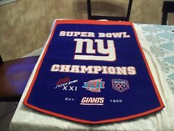 New York Giants Wall Super Bowls Wall Banner 37 X 24. Great Collectible