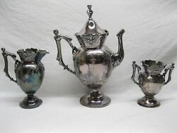 Wilcox Victorian Tea Set Fancy Silver Plate Woman Figural Handles Leaves Old Vtg