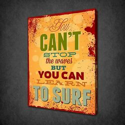 Learn To Surf Inspirational Quote Canvas Wall Art Print Picture Ready To Hang