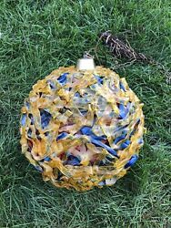 60s 70s Spaghetti Mcm Chunky Yellow Red Blue Lucite Hanging Ball Orb Swag Lamp