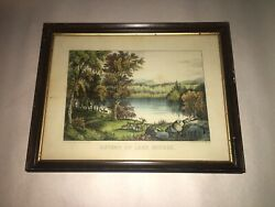 Original Currier And Ives Print Autumn On Lake George Great Color And Sheet Size