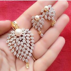 5.98 Cts Round Brilliant Cut Diamonds Pearl Pendant Earrings In 585 14carat Gold