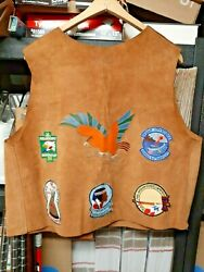 1960s Indian Guides Suede Leather Vest Ymca Camp Adult New W/ Patches