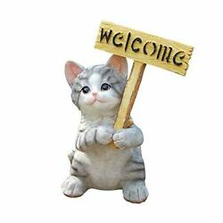 Cute Cat Welcome Sign Sculpture Outdoor Best Garden Yard Statues Funny For Patio