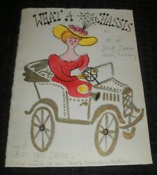 Birthday What A Chassis Woman In Antique Car 6.5x8.5 Greeting Card Art Nn