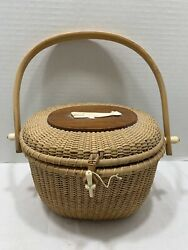 Vtg True Nantucket Lightship Basket Purse Carved Whale Top 8.5andrdquowx6andrdquot As Is