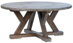 39 W Odetta Coffee Table One Of A Kind Solid Stone Top Rustic Pine Wood Base