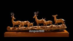115 cm China Boxwood Masterwork Deer wapiti reindeer Animal family art sculpture