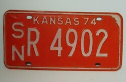 Old 1974 Kansas License Plate Topeka Shawnee County Kansas State Tag Chevy Ford