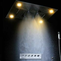 High-pressure Water Saving Led Rain Shower 23x31 Polished Stainless Steel