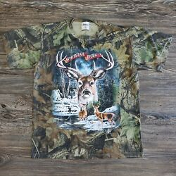 Vintage White Tail Deer Graphic Camo T Shirt Made In USA Size Small