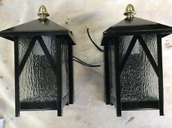 Antique Pair Arts Crafts Steel Brass And Glass Exterior Porch Wall Lights