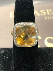 9 Carat Natural Yellow Citrine And Diamonds In 14k Solid Gold Ring