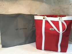 St. John Designer Red Tote Bag Large With Dust Cover NO RESERVE