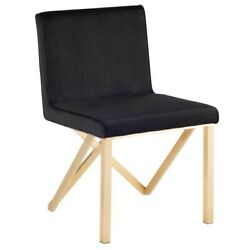 19.3 W Set Of 2 Dining Chair Black Velour Modern Brushed Stainless Steel Frame