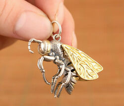 Chinese Old S925 Silver Bee Wings Can Move Statue Pendant Necklace Netsuke Gift