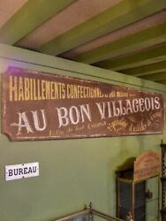 Large Rustic Antique French Sign