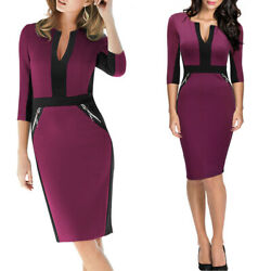 Women's Midi Bodycon Dress 34 Sleeve Front Zipper dress for work or business