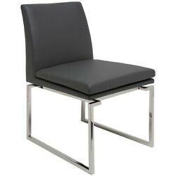 19.3 W Set Of 2 Modern Dining Chair Faux Leather Square Stainless Steel Frame