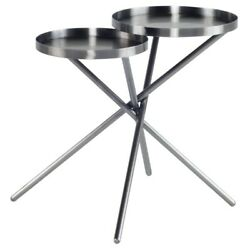 24.8 W Set Of 2 Side Table Brushed Graphite Modern Intertwined Stainless Steel