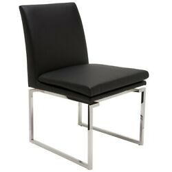 19.3 W Set Of 2 Dining Chair Square Stainless Steel Frame Faux Leather Modern