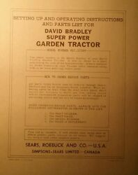 David Bradley Sears 917.57599 Garden Tractor And Plow Owners And Parts 2 Manuals