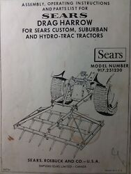 Sears Suburban Spike Tooth Harrow Implement Lawn Garden Tractor Owners Manual