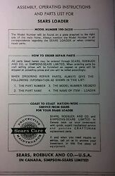 Sears Kwik-way Front Loader Garden Tractor Owner, Assembly And Parts 2 Manual S