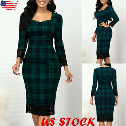 Women Lace Plaid Long Sleeve Slim Midi Dress Ladies Casual Party Bodycon Dresses