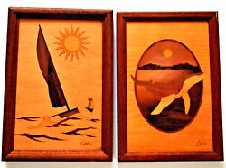 Vtg American Hudson River Style Inlay Studio Marquetry Pictures Signed Nelson
