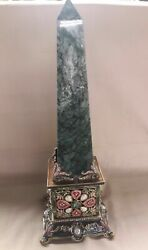 Jay Strongwater 6x6 Base And18 1/4 Tall Magnolia Marble Stone Obelisk