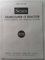 Sears Suburban Super 12 Ss/12 Lawn Garden Tractor And Engine Parts 2 Manual S