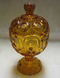 Amber Moon And Stars Eapg Pressed Glass Covered Candy Dish