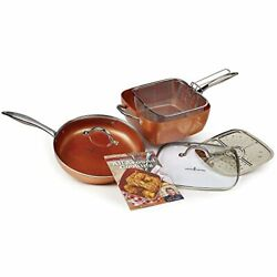Induction Cooktop Copper Cookware Set With Square Pan Steam Rack Pack Of 7 11
