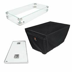 Heavy Duty Glass Lid Wind Fence And Waterproof Cover For Outland Fire Tables 3 Pcs