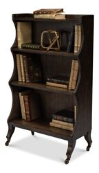 45 T Bookcase Intricate Carved Detail Oak Wood With Veneer Caster Wheels