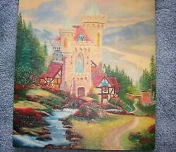 FAIRY TALE CASTLE ENGLISH COTTAGE MEDIEVAL CASTLE GARDEN TOPIARY STREAM PAINTING