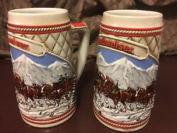 1985 Pair Of Vintage Budweiser Holiday Clydesdale Steins A-series.