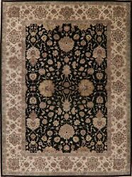 All-over Floral Assorted Black/beige Agra Oriental Large Rug Hand-knotted 10x15