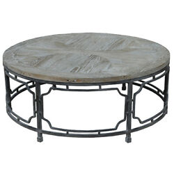 40 W Coffee Table Reclaimed Elm Wood Round Top Industrial Iron Gate Base