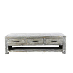 60 L Bench Table Solid Wood 3 Drawers Rustic Grey Fabric Seat Traditional
